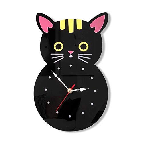 ZHS 15-Zoll-kreative stille Wanduhr, Eule Cartoon-Kinder-Deko-Uhr, für Haus- / Schlafzimmer/Wohnzimmer B
