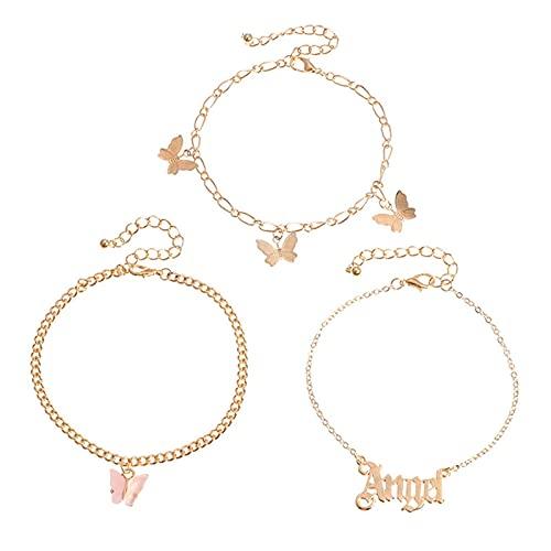 gormyel 3 pulseras de tobillo Y2K moda sexy multicapa letra Ángel pie adornos temperamento rosa mariposa tobillera
