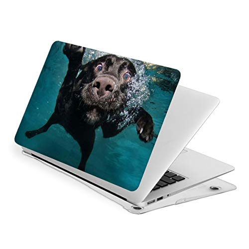 RYHT Black Labrador Retriever Dog Swimming with Expressive Face Waterproof Pv Laptop Protector, Hard Shell Case with Bottom Cover Compatible with MacBook New Air13