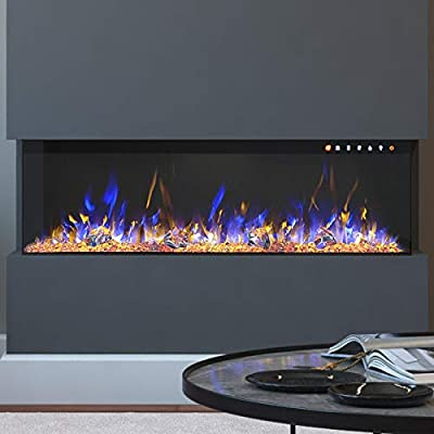 """Regal Flame Spectrum Modern Linear Electric 3 Sided Wall Mounted Built-in Recessed Fireplace (72"""")"""