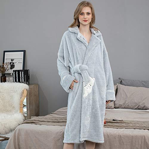 LXDWJ Mujeres Albornoz Invierno Flannel Espesar Baño de baño Caliente Largo Tallas Grandes Mujeres Coral Flannel Noche Vestido Vestido Campo de camisón (Color : B, Size : X-Large)