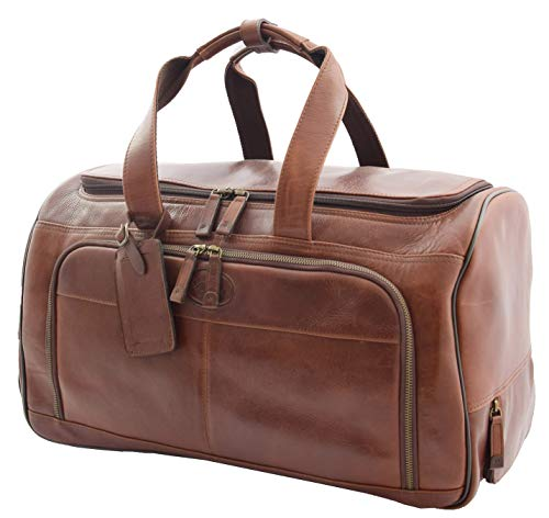 Large Size Genuine Leather Wheeled Holdall Weekend Overnight Travel Duffle Bag HLG641 Brown