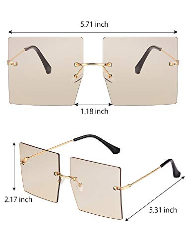 4 Pairs Oversized Square Sunglasses Rimless Frame Glasses Retro Flat Top Sunglasses with 4 Pieces Glasses Cloth for Women Men