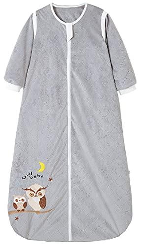 Chilsuessy Babyschlafsack Baby Ganzjahres Schlafsack mit abnehmbaren Ärmeln für Säugling Kinder Schlafsack Schlafanzug aus 100% Baumwolle, Grau/2 Tog, 110/Baby Höhe 95-115cm
