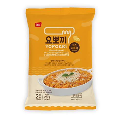 Instant Topokki Rapokki Rice Cake with Ramen Noodles Popular Korean Food Various Flavors 떡볶이 라볶이 (Cheese_Rapokki, 260g 1 Pouch (2 Servings))