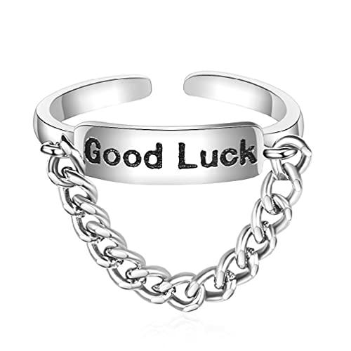 Anillo de la buena suerte grabado clásico retro anillo ajustable cadena de eslabones gruesos anillos regalo de joyería para mujeres hombres y hombres