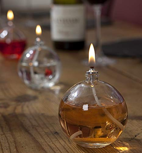 CLEARCRAFT SET OF THREE REFILLABLE MINI BALL CANDLE LAMP BURNERS FOR USE WITH SMOKELESS ODOURLESS LAMP OIL OR TABLE SETTING