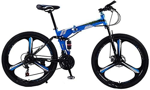 Worth having - Bicicleta de la bicicleta plegable, tamaño de la rueda de 26 pulgadas de 26 pulgadas de bicicleta de carretera 21 velocidades de la suspensión Bicycle Double Disc Freno, para el entorno