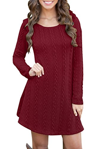 YMING Damen Pullover Kleid Lose Casual Einfabige Langarm Kleider Herbst Winter,Bordeaux,XS
