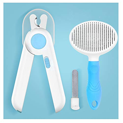 Dog and Cat Nail Clippers, Massage Comb Set, Free Nail Files, Pet Claw Scissors, Safety Guards, Small Animal Trimming Tools (Color : Blue)