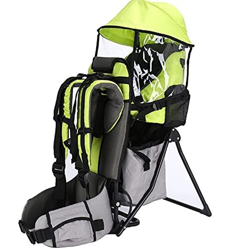 Baby Carrie Mochila Camping Portador infantil con cubierta de lluvia Bracket Folletable 360 All-Position Hip Asiento portátil Baby Walker Adecuado para niños entre 6 meses-5 años ( Color : Green )