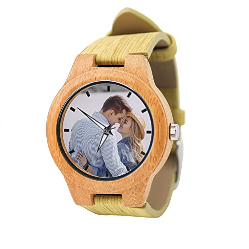 Reloj de Madera Personalizado con Foto o Mensaje Grabado de Doble Cara para Hombres, Mujeres, cumpleaños, Navidad, día del Padre, Regalo(Bamboo,Men-4.5cm)