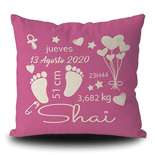 BAGEYOU Funda de Almohada Personalizada con impresión de Datos de Nacimiento del bebé Funda de cojín de Lino Rosa Bonitos Regalos de cumpleaños para bebés, 50 x 50 cm