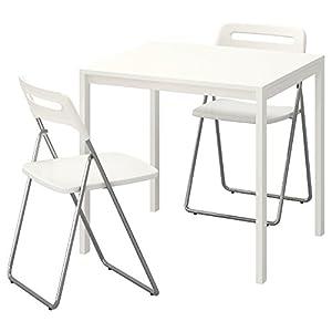 Zigzag Trading Ltd Mesa y 2 sillas Plegables Blanco/Blanco - IKEA MELLTORP/Nisse