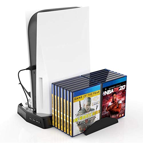 Esenlong Soporte vertical para consola PS5 DE/UHD de PS5 DE/UHD, controlador, estación de carga con almacenamiento de juego y cargador, color blanco y negro (opcional) ABS DC 2A