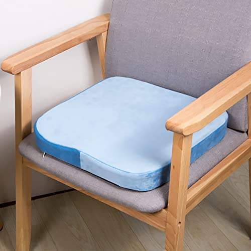 RAILONCH Cojín de espuma viscoelástica para silla, 40 x 40 cm, cojín de asiento para exterior, cojín de rebote lento, suave, desmontable, cojín de suelo para tatami, jardín, oficina (azul claro)