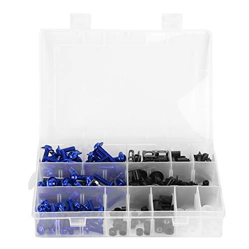 Accesorios de moto, 223 piezas de pernos de carenado de motocicleta, tornillos de parabrisas, tuercas, accesorios de carrocería de motocicleta(Azul)