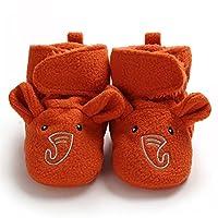 男の子の女の子の戦利品冬の暖かい動物の顔クロール滑り止め幼児のプレーカーズの柔らかいベビーベッドの靴赤ん坊の靴下の靴 (Baby Age : 0-6 Months, Color : Orange elephant)