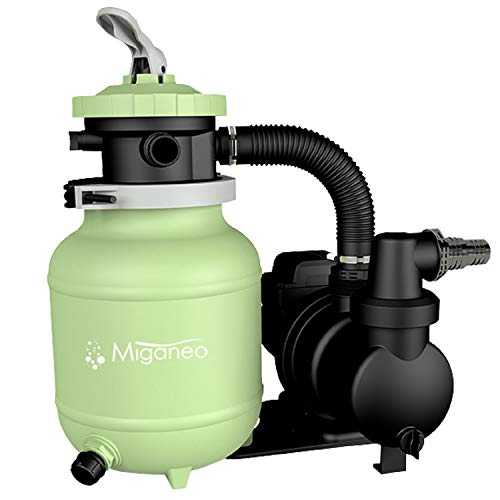 Miganeo® Speed Clean 7000 Sandfilter mit Zeitschaltuhr für Pool bis 22m³ selbstsaugend (Grün)