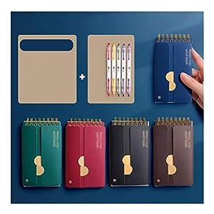 HJHJ Cuadernos Anillo-Tipo portátil Notebook, Memorizar Wordbook Journal, luz de Color/del Color Oscuro del Diario, for la Escuela de Negocios, Papel Premium 3-10 Packs blocs de Notas