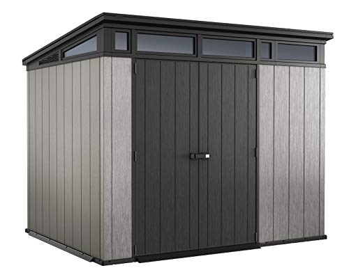Keter Artisan 9x7 Foot Large Outdoor Shed with Floor with Modern Design for Patio Furniture, Lawn Mower, Tools, and Bike Storage, Grey/Black