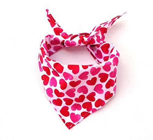 Tie On Pink Red Hearts Dog Bandana Valentine's Day Neck Accessory Petwear Neckwear
