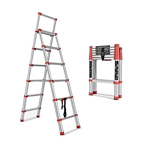 Escalera de peldaños Escaleras telescópicas Plegables Multifunción, aleación de Aluminio Gruesa Escalera...