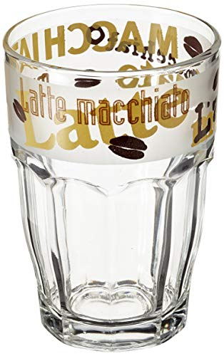 Bormioli Rocco 516170 Happy Hour Latte Macciato Kaffeeglas, 370 ml, Glas, transparent, 6 Stück