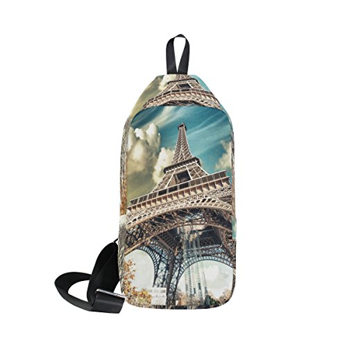 DragonSwordlinsu Coosun Street View de la Tour Eiffel Sling Sac à bandoulière Coffre Cross Body Sac à dos léger décontracté Sac à dos pour homme femme