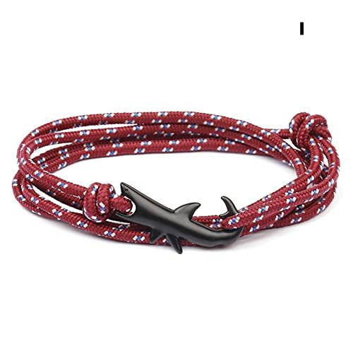 BestSiller Pulsera de tiburón, cuerda de nailon, pulsera de tiburón, moda punk de aleación de tiburón, gancho de cuerda para pulsera unisex