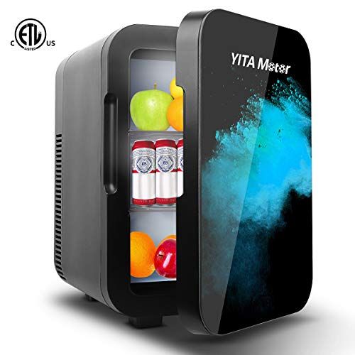 YITAMOTOR Mini Fridge 10 Liter Compact Portable Personal Cooler and Warmer Small Refrigerators for Bedroom, Car, Office, Dorm, Travel, Skincare, Foods, Beverage, Beer, Medications, Black