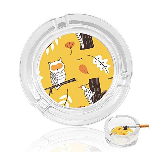 Cenicero de cristal, pájaros amarillos para el hogar en interiores y exteriores, bandeja de cigarrillos, para ceniceros de mesa, ideal como regalo para el padre fumadores, decoración de restaurante