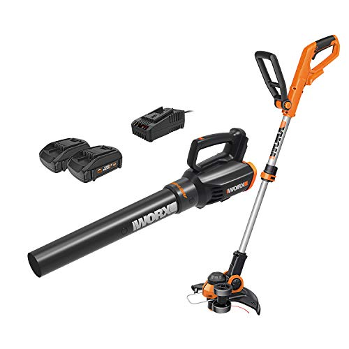 Save %18 Now! WORX Cordless String Trimmer and Blower WG929.1 Combo, 20V 2 batteries, Grass Weed Edg...