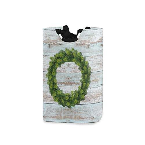 Guirnalda de hojas Soporte de cesto de ropa impermeable de madera de madera, cesta de ropa sucia plegable grande y sucia, organizador de contenedor de almacenamiento duradero de tela plegable con asas