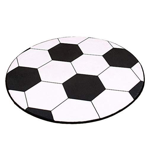 Besportable - Alfombra redonda de balón de fútbol, modelo zona, antideslizante, alfombra decorativa, color blanco y negro, para salón, dormitorio, silla de oficina, ordenador, 80 cm