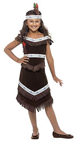 Smiffys, Kinder Mädchen Indianerin Kostüm, Fransenkleid und befiedertes Stirnband, Größe: M, 41096