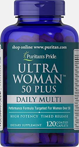 Puritans Pride Ultra Woman 50 Plus Multivitamin Caplets with Zinc, 120 Count, White
