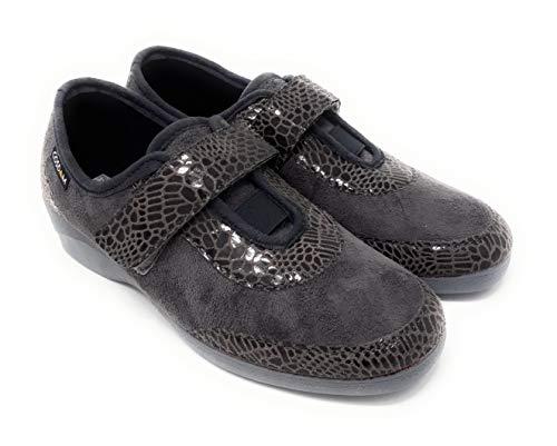 Zapatillas CASA COSDAM 2523 Oasis Gris.Zapatillas de Estar por casa para Mujer con Cierre de Velcro, Muy comodas y Flexibles.Piso Antideslizante. (Gris, 36)