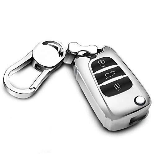 YJLOVK Funda de TPU para Llave de Coche para Hyundai Verna IX35 Sonata Celesta Elantra, Accesorios de Carcasa para Llave de Coche, Plateada con Llavero