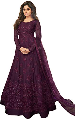 Yami fashion women's embroidery and diamond work semi stitch net soft silk multi color gown