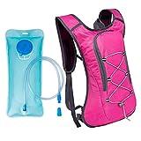 Xingkee Mochila de hidratación de 2L con Bolsa de Bicicleta de vejiga de hidratación para Correr al Aire Libre Ciclismo, Mochila de Agua con Sistema de hidratación Rose