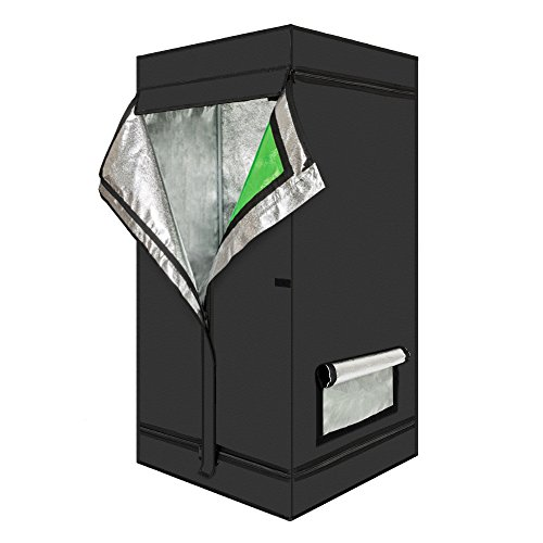 FCH Growbox, odeltält för inomhus med fönster, växttält för grönsaker och frukt inomhus, odlingslåda komplett sats växthus odlingstält, växtskåp Darkroom växttält för hemodling (60 x 60 x 120 cm)