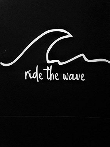 Chase Grace Studio Surf Surfboard Ride The Wave Beaches Vinilo adhesivo adhesivo | Blanco | Coches Camiones Vans SUV portátiles Paredes Metal |7.5' X 3.5' | CGS853