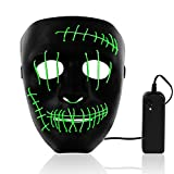 Halloween LED Mask Light Up Purge Mask Scary Face Dark Mask with EL Wire 3 Modes