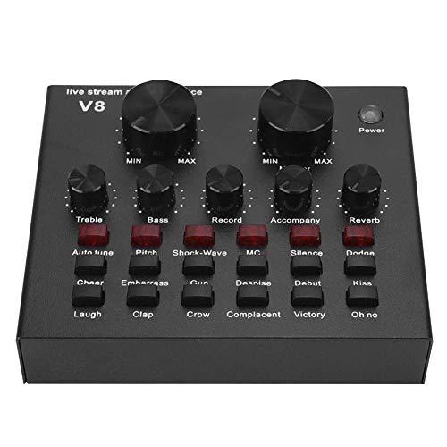 Tarjetas de sonido externas V8, tarjeta de sonido en vivo Bluetooth, tarjeta de cambio de voz de transmisión en vivo por computadora con micrófono, mezclador de audio portátil portátil versión Bluetoo