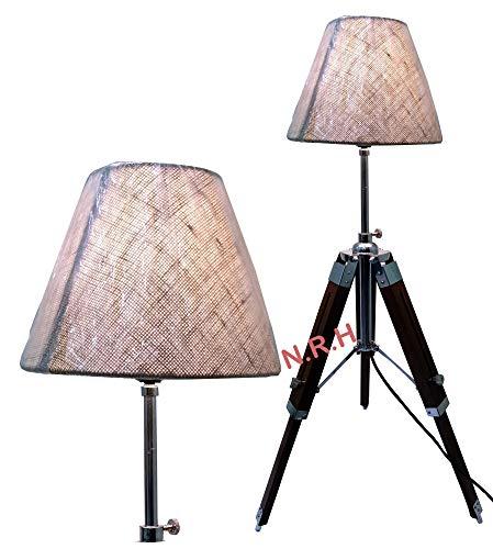 Schöne Dreifuß Tischlampe mit Lampenschirm höhenverstellbar braun Holzständer