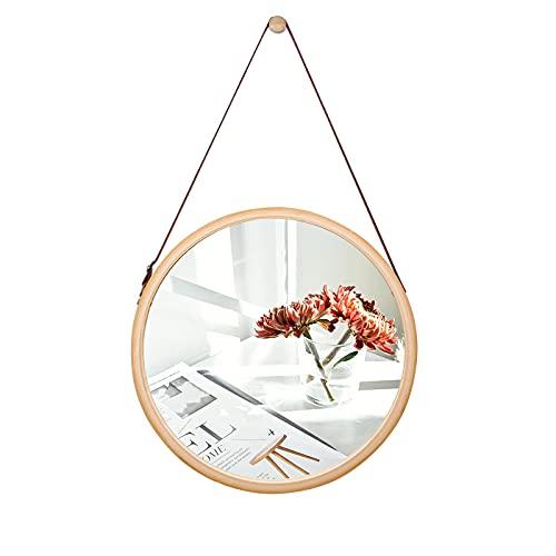 SANPON Espejo de Pared Redondo Espejo Colgante con Marco de bambú Espejo de Pared con Correa de Cuero Ajustable 38 cm