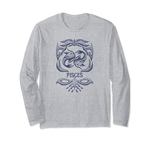 Camiseta retro del zodiaco Piscis Regalo de cumpleaños Signo Manga Larga