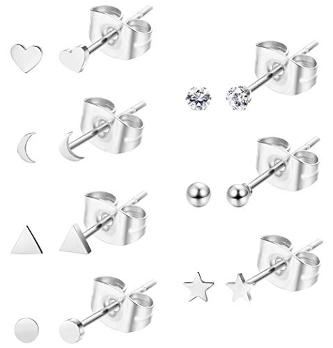 Sllaiss 7 Pairs Tiny Geometric Stud Earrings Set Stainless Steel Heart Star CZ Ball Cartilage Earrings Studs for Women Set With Gift Box