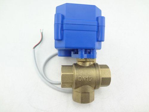 MISOL 1pcs of Motorized Ball Valve 3 way G1/2' DN15 (reduce port), electric ball valve, motorized valve, T Port/valvola a sfera motorizzata/elettrovalvola/valvola a sfera elettrica/valvola motorizzata